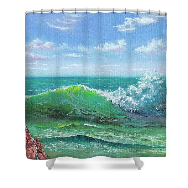 Shower Curtain featuring the painting Crashing Wave by Mary Scott