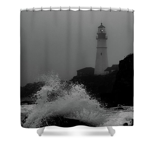 Crashing Waves On A Foggy Morning Shower Curtain