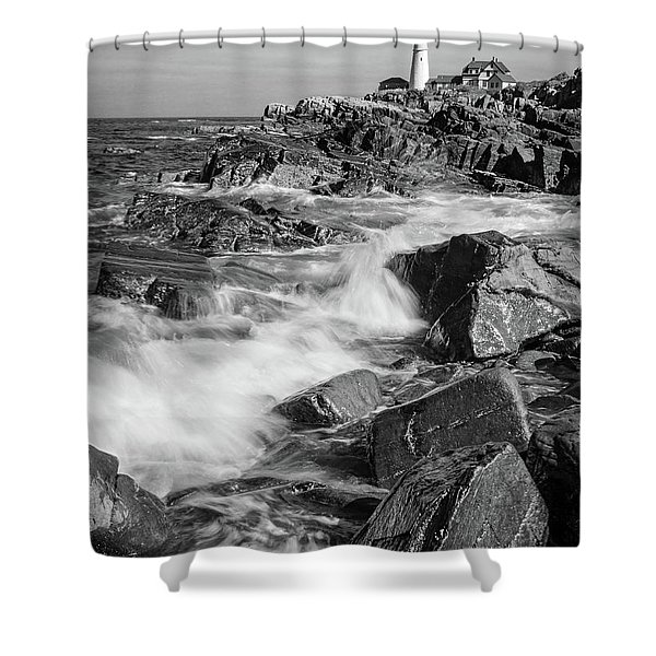 Crashing Waves, Portland Head Light, Cape Elizabeth, Maine  -5605 Shower Curtain