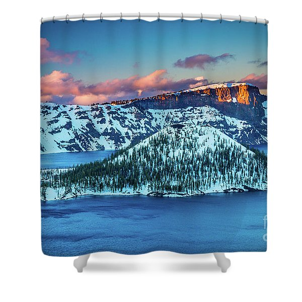 Crater Lake Dusk Shower Curtain