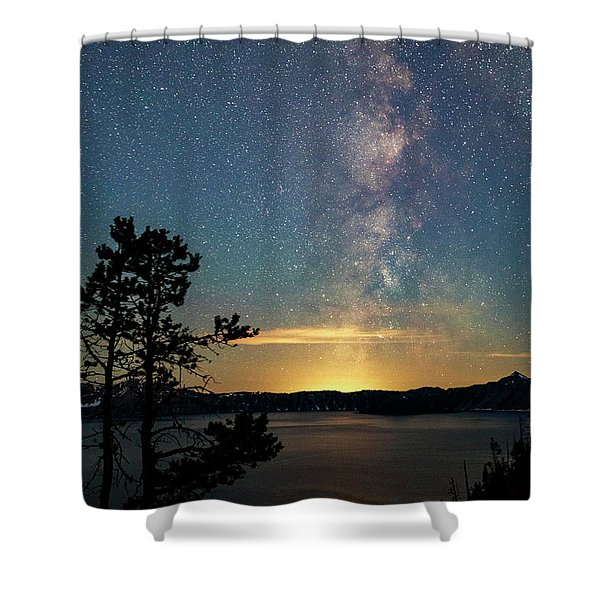 Crater Lake Milky Way Shower Curtain
