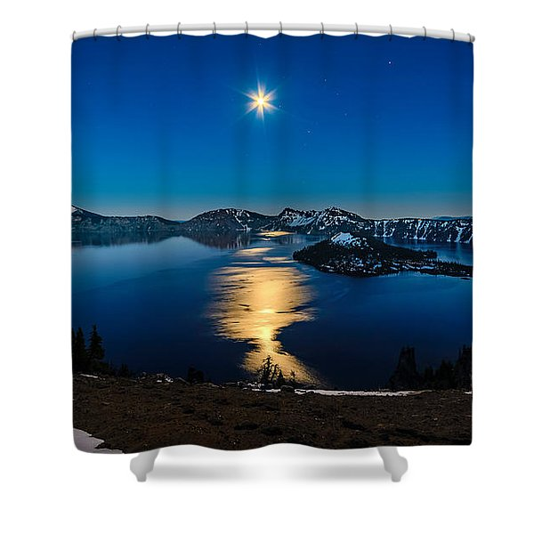 Crater Lake Moonlight Shower Curtain