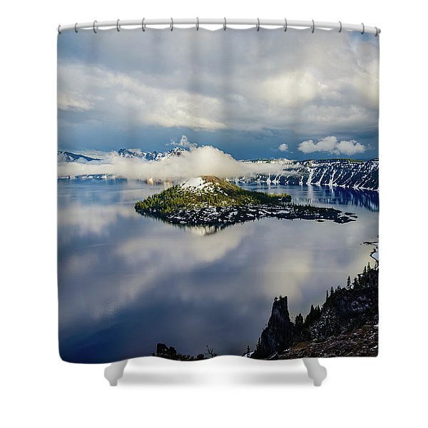 Crater Lake Storm Shower Curtain