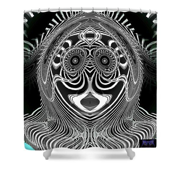 Shower Curtain featuring the digital art Crazy Girl by Visual Artist Frank Bonilla