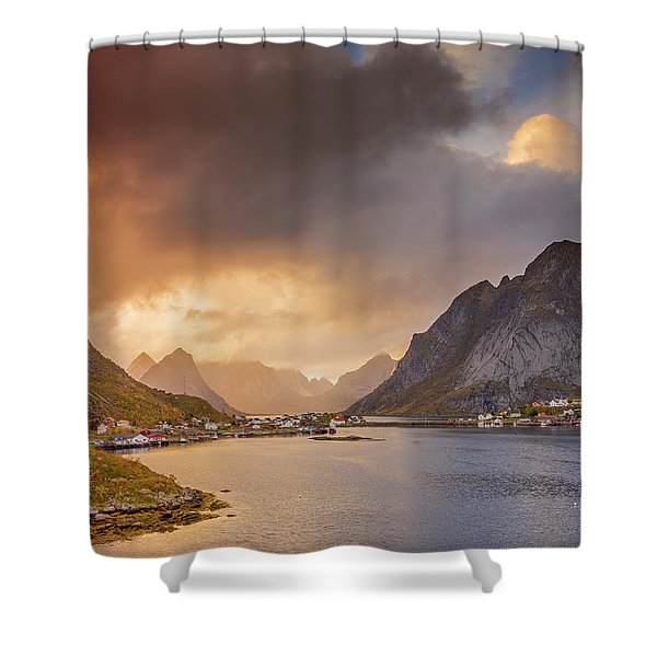 Crazy Sunset In Lofoten Shower Curtain