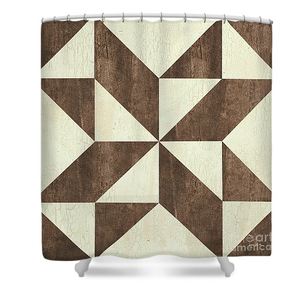 Cream And Brown Quilt Shower Curtain