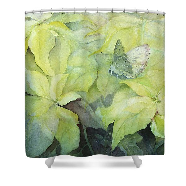 Cream Poinsettia With Butterfly Shower Curtain