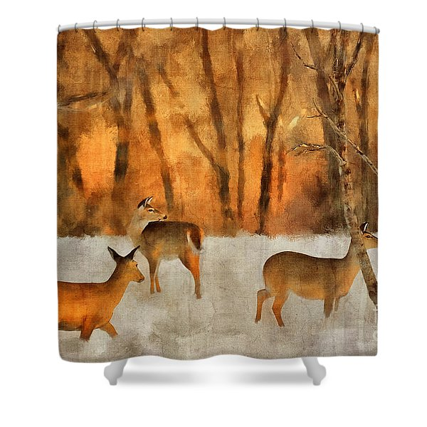 Creatures Of A Winter Sunset Shower Curtain
