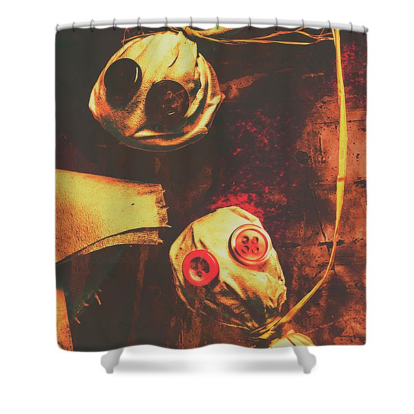 Creepy Halloween Scarecrow Dolls Shower Curtain