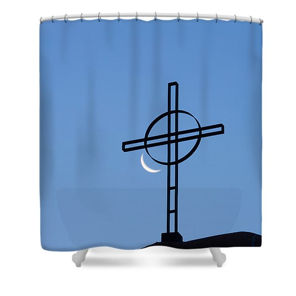 Crescent Moon And Cross Shower Curtain