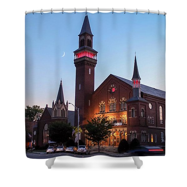 Crescent Moon Old Town Hall Shower Curtain