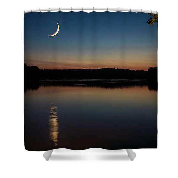 Shower Curtain featuring the photograph Crescent Moon Set At Lake Chesdin by Jemmy Archer