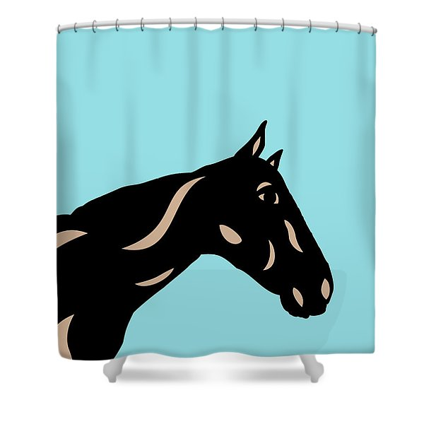 Crimson - Pop Art Horse - Black, Hazelnut, Island Paradise Blue Shower Curtain