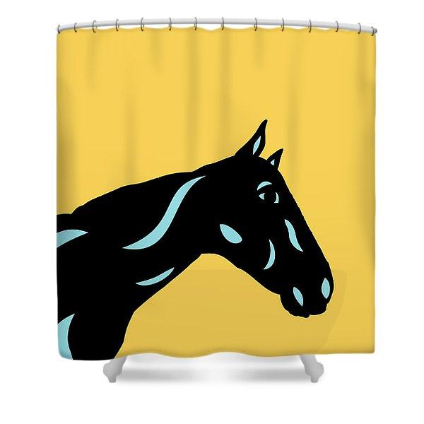Crimson - Pop Art Horse - Black, Island Paradise Blue, Primrose Yellow Shower Curtain