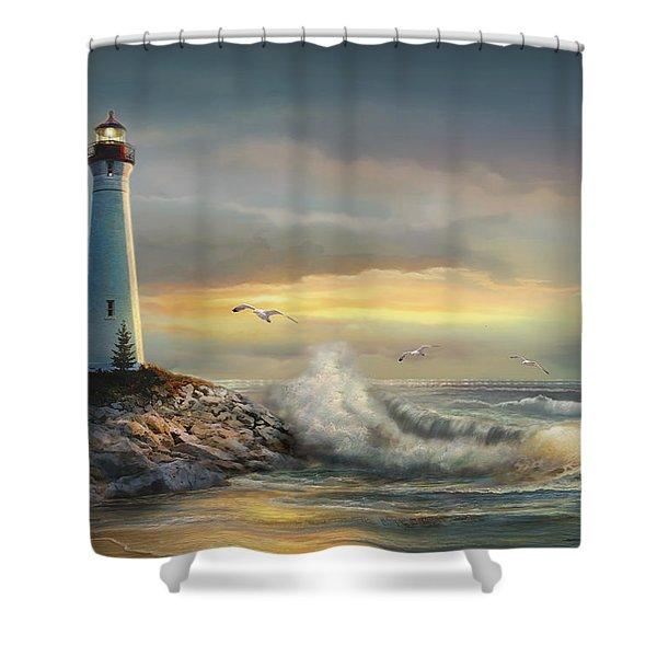 Crisp Point Lighthouse At Sunset  Shower Curtain