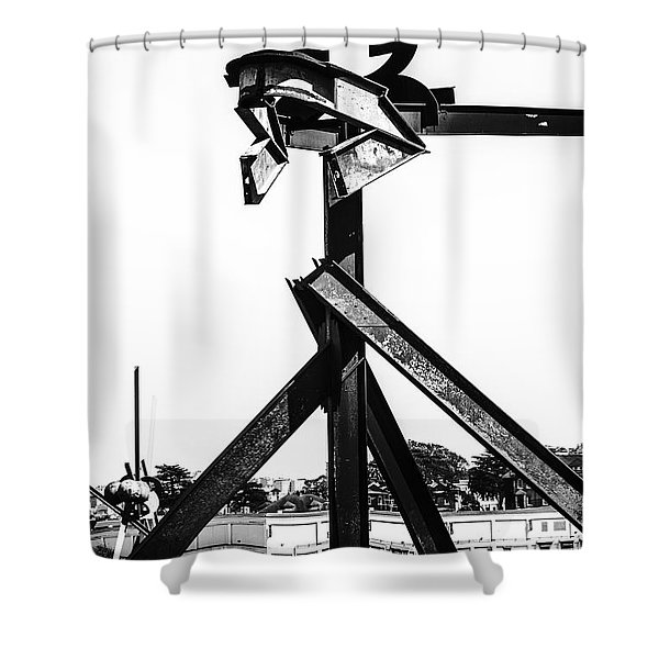 Shower Curtain featuring the photograph Crissy Field Iron Scuplure by Michael Hope