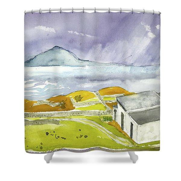 Croagh Patrick And Purple Sky Shower Curtain