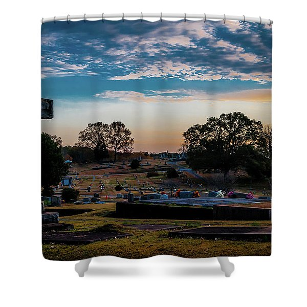 Cross At Sunset Shower Curtain