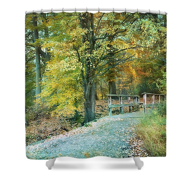 Cross Over The Wooden Bridge Shower Curtain
