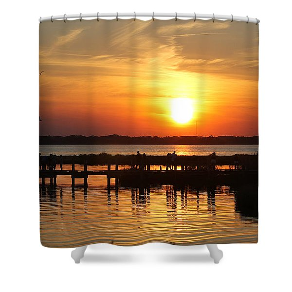 Crossing The Bridge At Sunset Shower Curtain