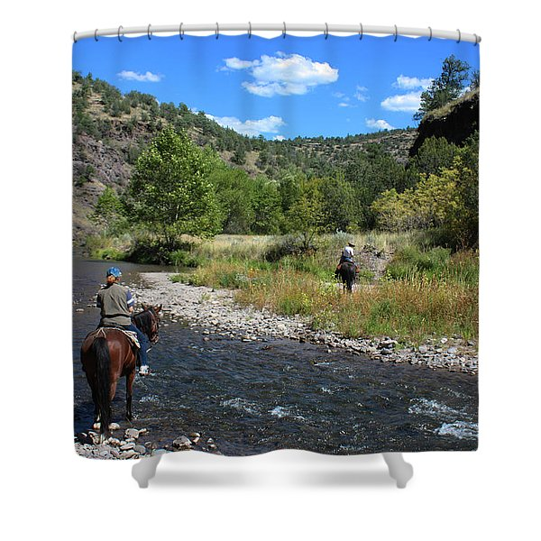 Crossing The Gila On Horseback Shower Curtain