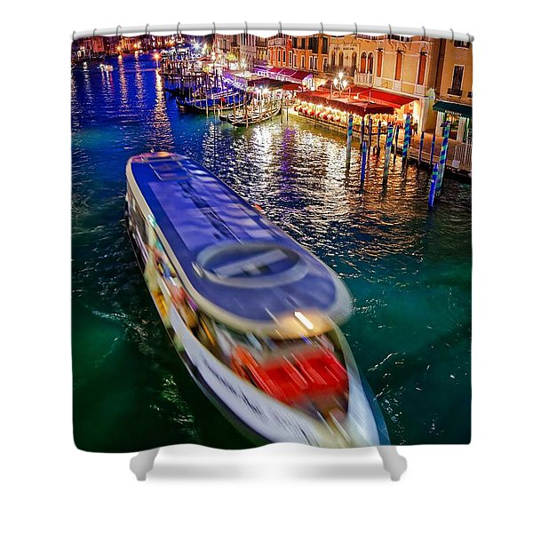 Vaporetto Crossing The Grand Canal At Night In Venice, Italy Shower Curtain