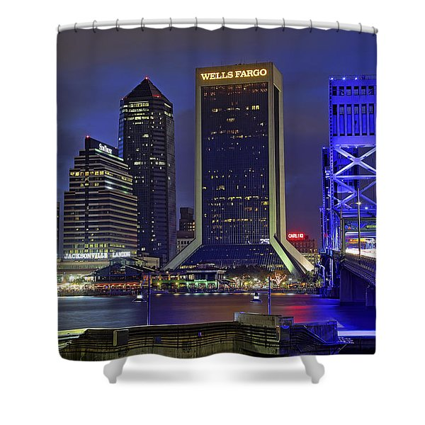 Crossing The Main Street Bridge - Jacksonville - Florida - Cityscape Shower Curtain