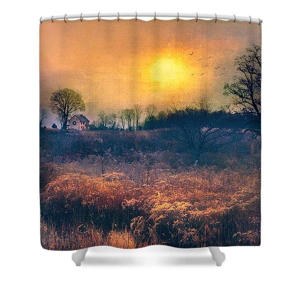 Crossing Through The Meadows Shower Curtain