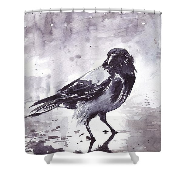 Crow Watercolor Shower Curtain