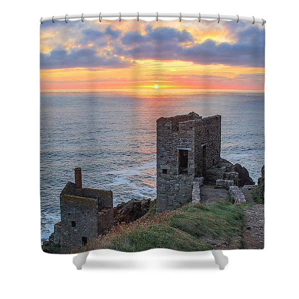 Crown Mines At Botallack  Shower Curtain