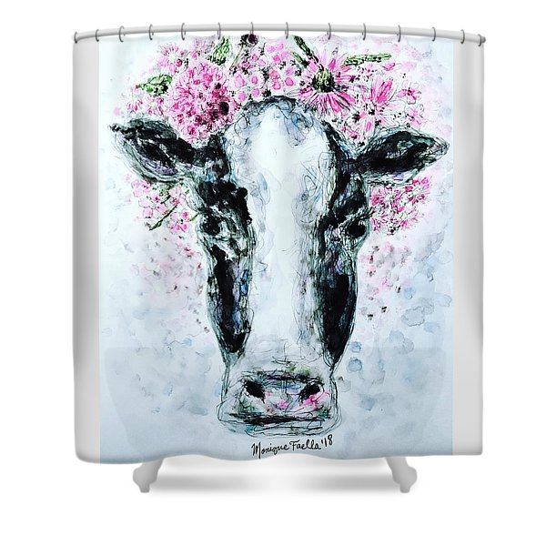 Crown Of Flowers Cow Shower Curtain