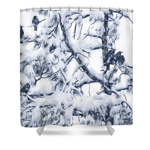 Crows In Snow Shower Curtain