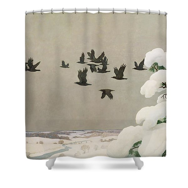 Crows In Winter Shower Curtain