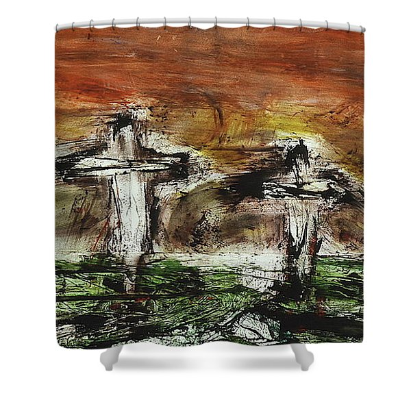 Shower Curtain featuring the painting Crucifixion #2 by Michael Lucarelli