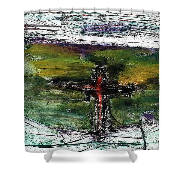 Shower Curtain featuring the painting Crucifixion #3 by Michael Lucarelli