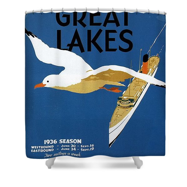 Cruise Across The Great Lakes - Canadian Pacific - Retro Travel Poster - Vintage Poster Shower Curtain