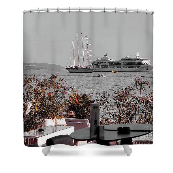 Cruising Past And Present Shower Curtain