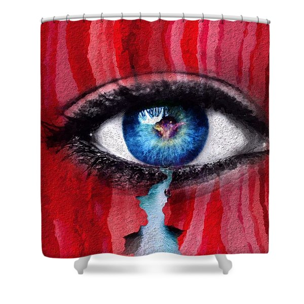 Shower Curtain featuring the painting Cry Me A River by Mark Taylor
