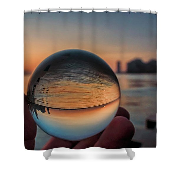 Crystal Ball On Chicago's Lakefront At Sunrise Shower Curtain