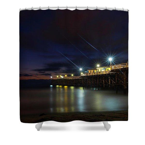 Crystal Beach Pier Blue Hour  Shower Curtain