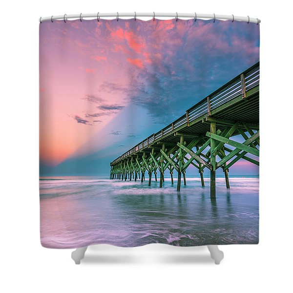 Shower Curtain featuring the photograph Crystal Beach Pier Sunset In North Carolina by Ranjay Mitra