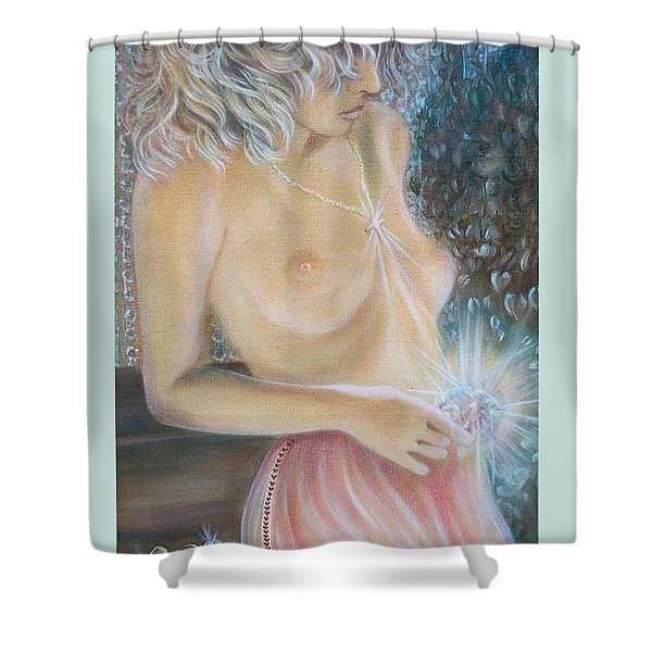 Blaa Kattproduksjoner      Crystal Wonder Viking Girl  Shower Curtain