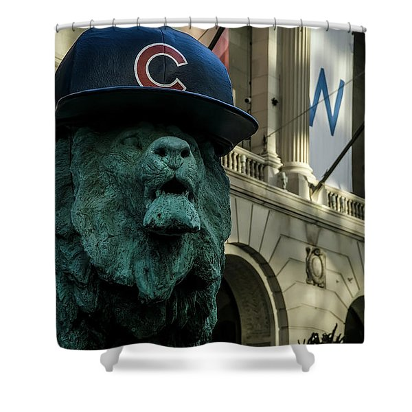 Cub Hat On Art Institute Lion Telephoto Shower Curtain