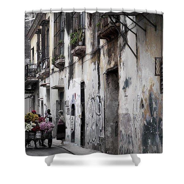 Cuban Flower Vendor Shower Curtain