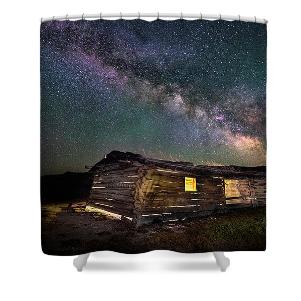 Cunningham Cabin After Dark Shower Curtain