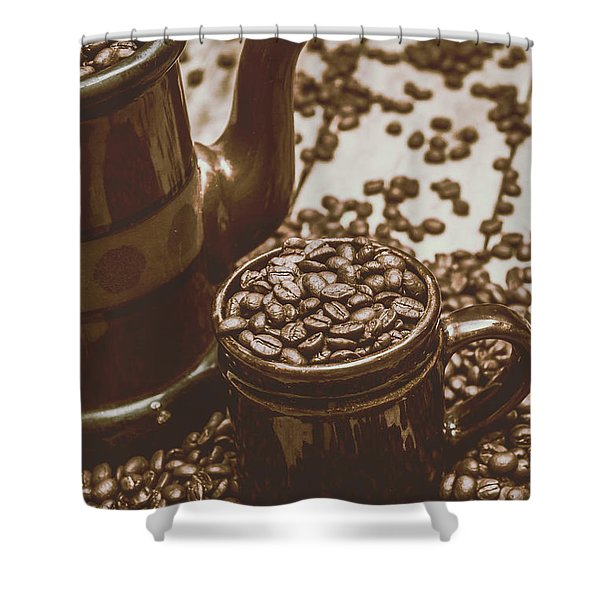Cup And Teapot Filled With Roasted Coffee Beans Shower Curtain