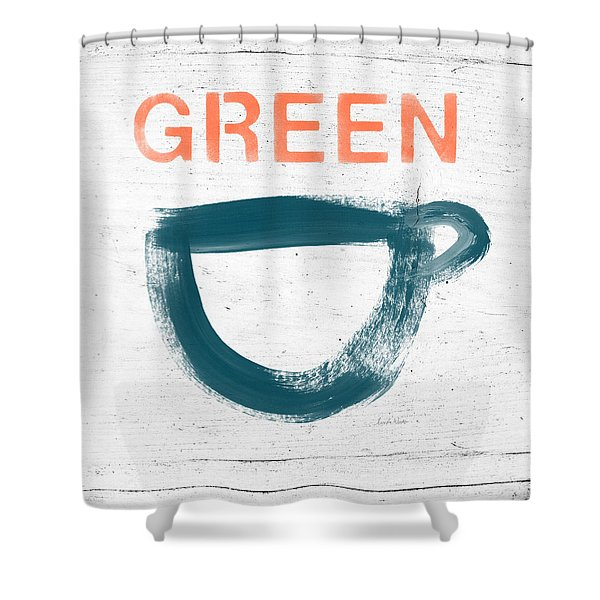 Cup Of Green Tea- Art By Linda Woods Shower Curtain