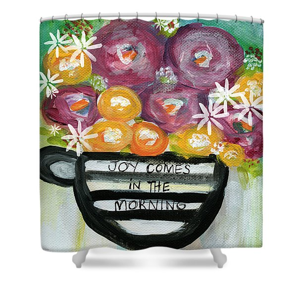 Cup Of Joy 2- Contemporary Floral Painting Shower Curtain