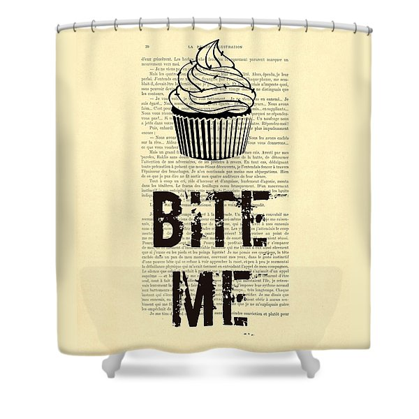 Cupcake Bite Me Typography Shower Curtain