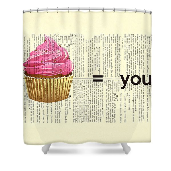 Pink Cupcake Equals You Print On Dictionary Paper Shower Curtain